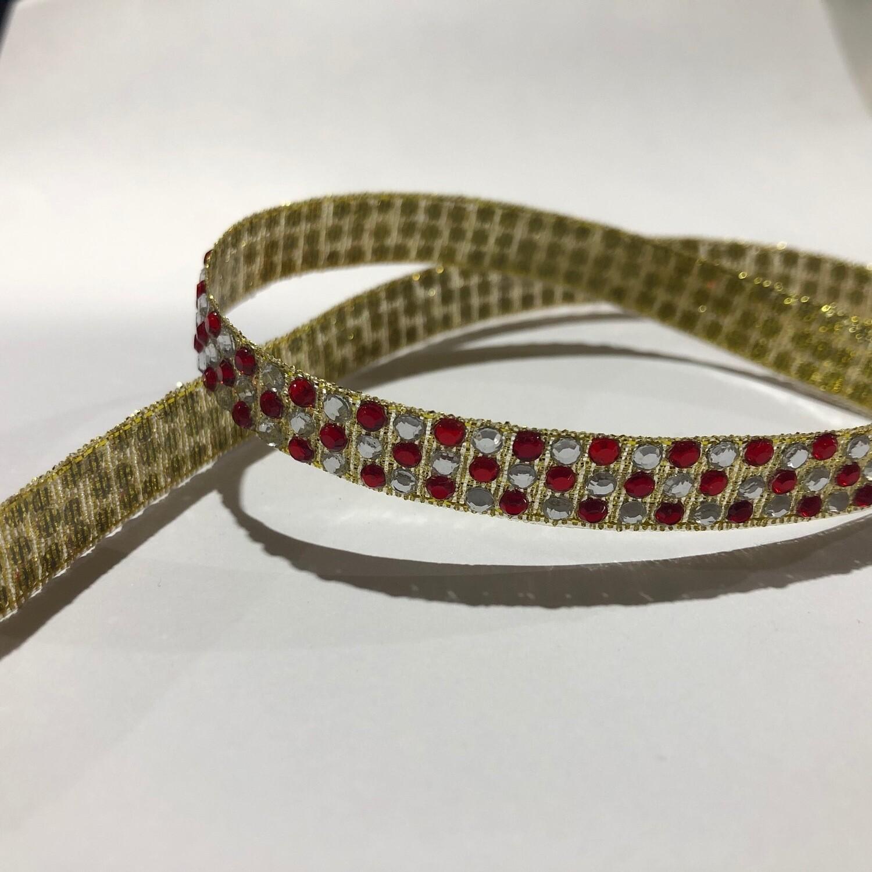 Red Diamante  Ribbon - per metre