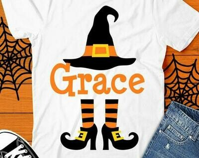 Personalized Halloween Shirt- Orange Witch