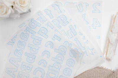 7 SHEETS OF LETTERS & NUMBERS + 1 BLANK SHEET ( LITE STEAM-A-SEAM 2) | The Warm Company
