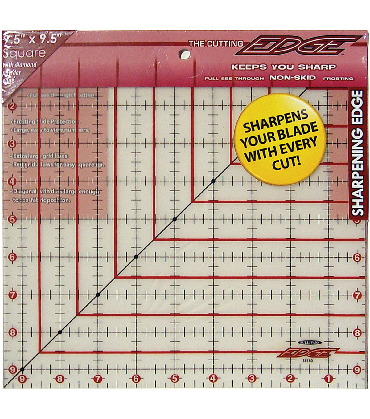 """9 1/2"""" x 9 1/2"""" QUILTER'S RULER   The Cutting Edge"""
