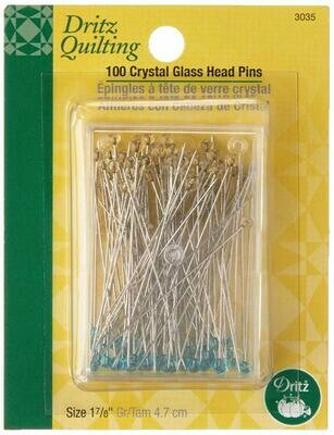 CRYSTAL GLASS HEAD PINS ( 100 PC ) 1 7/8