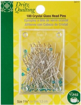 CRYSTAL GLASS HEAD PINS (100 PC) 1 3/8