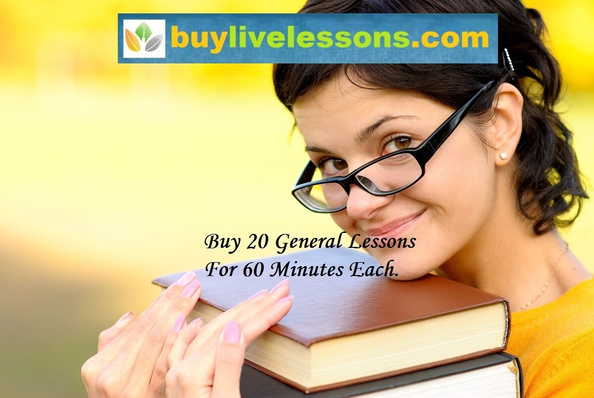 ​BUY 20 GENERAL LIVE LESSONS FOR 60 MINUTES EACH.​