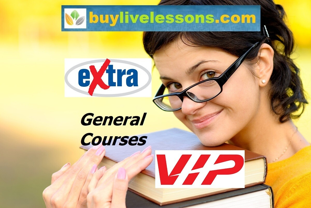 BUY 100 EXTRA GENERAL LIVE LESSONS FOR 60 MINUTES EACH