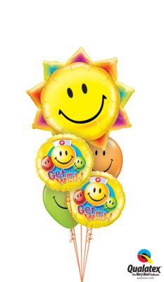 Sunshine Smile Face Get Well Balloon Bouquet