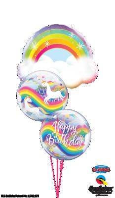 Rainbow Unicorns Happy Birthday Balloon Bouquet