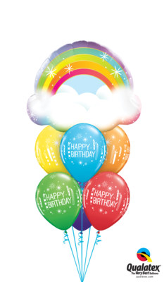 Over the Rainbow With Good Wishes! Happy Birthday Balloon Bouquet