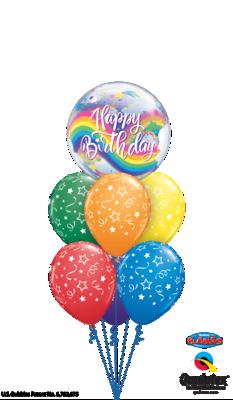 Rainbows & Shooting Stars Happy Birthday Balloon Bouquet
