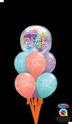 Happy Birthday Stars and Swirls Balloon Bouquet