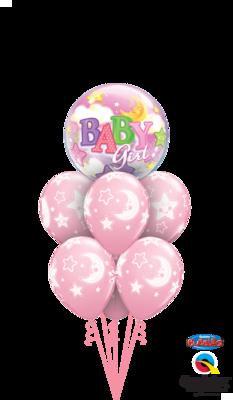 Pink Baby Girl Moon & Stars Deluxe Balloon Bouquet