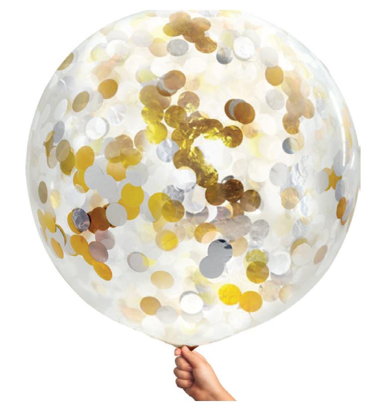 90 cm Confetti Helium Balloon Gold & Silver