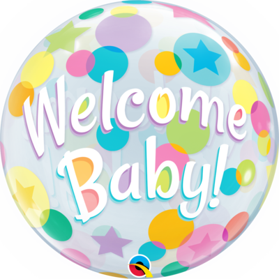 Welcome Baby Colorful Dots Bubble Balloon