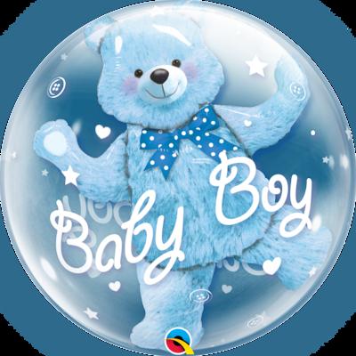 Baby Blue Bear Double Bubble Balloon