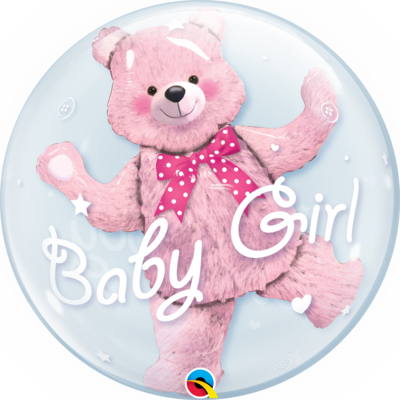 Baby Pink Bear Double Bubble Balloon