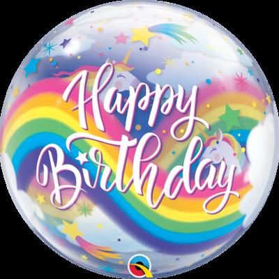 Birthday Rainbow Unicorns Bubble Balloon