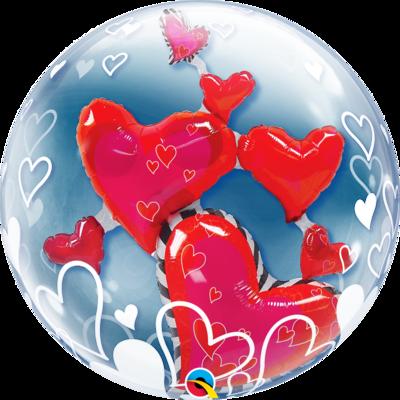 Lovely Floating Heart Double Bubble Balloon
