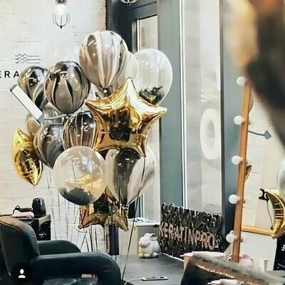 Black Marble Latex Balloon Bouquet with Helium
