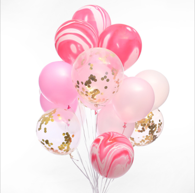 Pink Marble Confetti Latex Balloon Bouquet with Helium