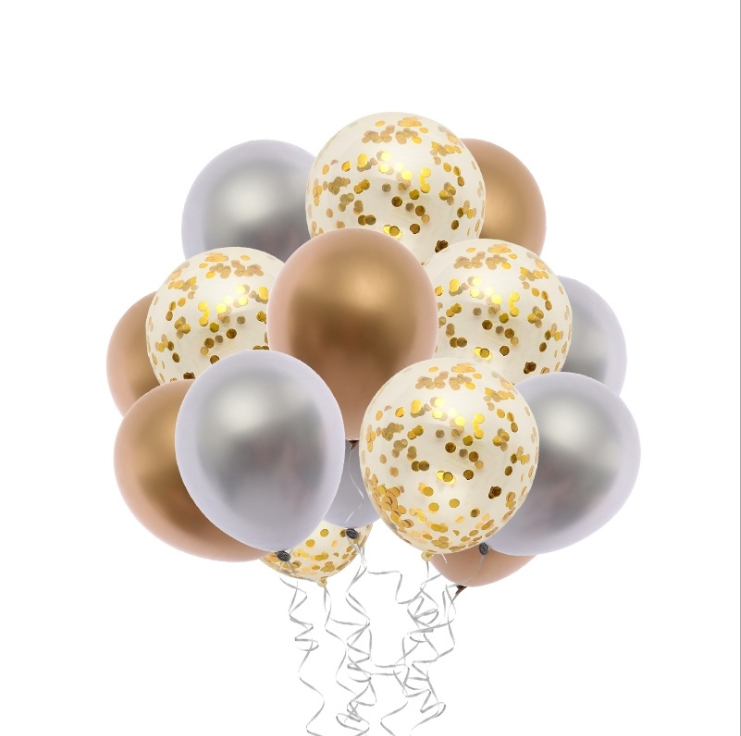 Gold & Silver Confetti Latex Balloon Bouquet with Helium