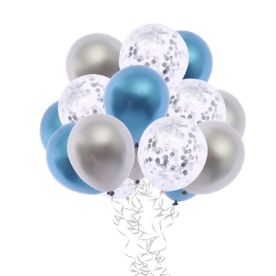 Chrome Blue & Silver Confetti Latex Balloon Bouquet with Helium