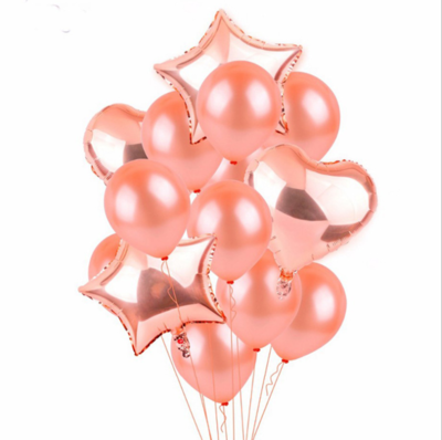 Rose Gold Star & Heart Latex Balloon Bouquet with Helium