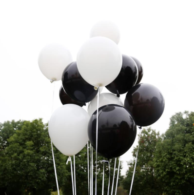 Black & White Latex Balloon Bouquet with Helium