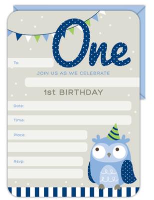 16pk Invitation & Envelope Set 1st Birthday Boy