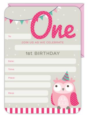 16pk Invitation & Envelope Set 1st Birthday Girl