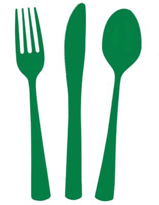 24 piece Green Plastic Cutlery