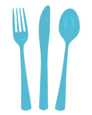 24 piece Blue Plastic Cutlery