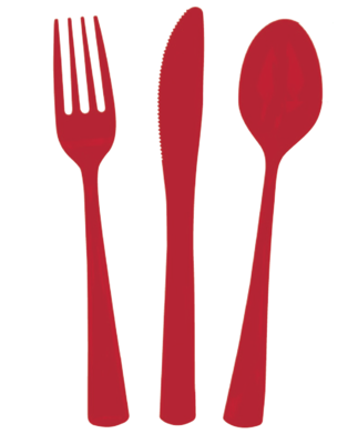 24 piece Red Plastic Cutlery