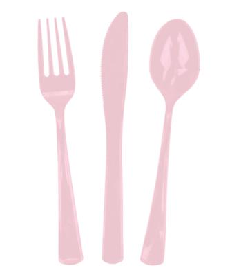 24 piece Pink Plastic Cutlery
