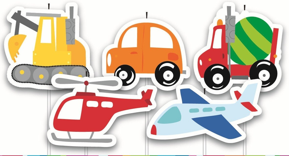 5 Pick Motor Cars Planes Cake Birthday Candles