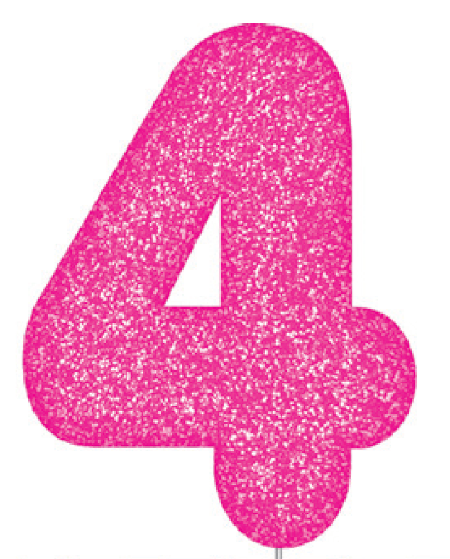 Pink Glitter Number Cake Birthday Candles 4