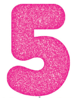 Pink Glitter Number Cake Birthday Candles 5