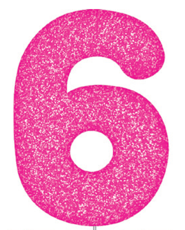 Pink Glitter Number Cake Birthday Candles 6
