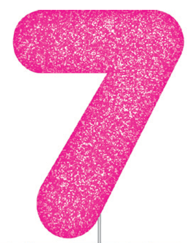 Pink Glitter Number Cake Birthday Candles 7