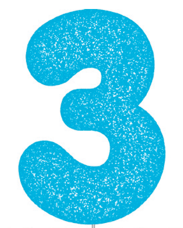 Blue Glitter Number Cake Birthday Candles 3