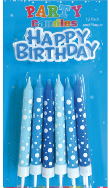 Blue Printed Candles with Birthday Plaque