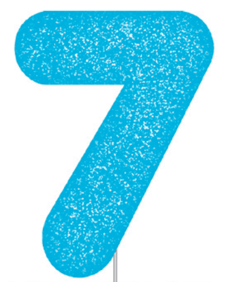 Blue Glitter Number Cake Birthday Candles 7