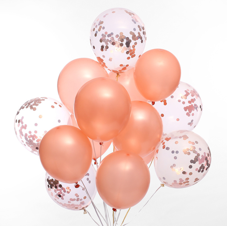 Rose Gold Confetti Latex Balloon Bouquet with Helium