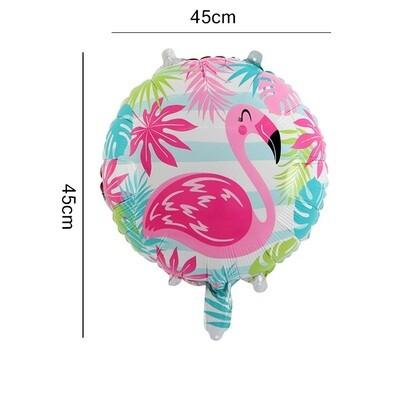Hawaii Party Theme Round Flamingo Foil Balloon