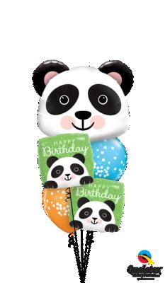 Fuzzy-Wuzzy Birthday Pandas Balloon Bouquet