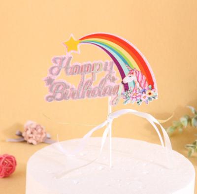 Cake Topper Unicorn Rainbow Happy Birthday