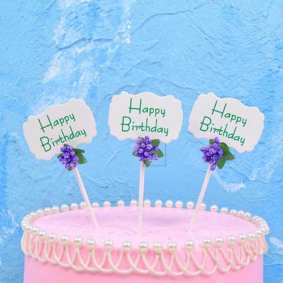 Cake Topper Happy Birthday Flower 3 pk
