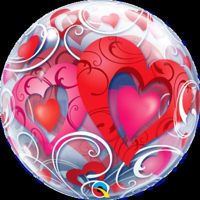 Red Hearts & Filigree Bubble Balloon