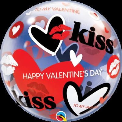 Valentine's Kisses & Hearts Bubble Balloon