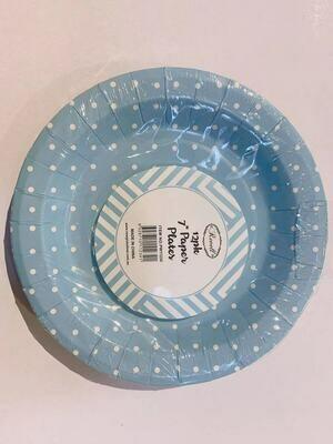 12pk Blue Spots Round Paper Plates 7 inch/18 cm