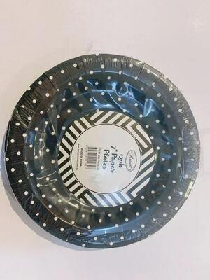 12pk Black Spots Round Paper Plates 7 inch/18 cm