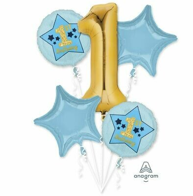 1st Birthday Blue and Gold Balloon Bouquet